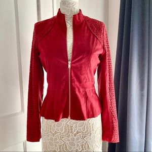 New York & Co Red Peplum Faux-Suede Jacket